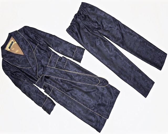 Mens navy blue paisley silk dressing gown pajamas set long robe and pajama pants pyjamas trousers