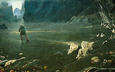 Sindbad at the valley of the diamond by Albert Goodwin