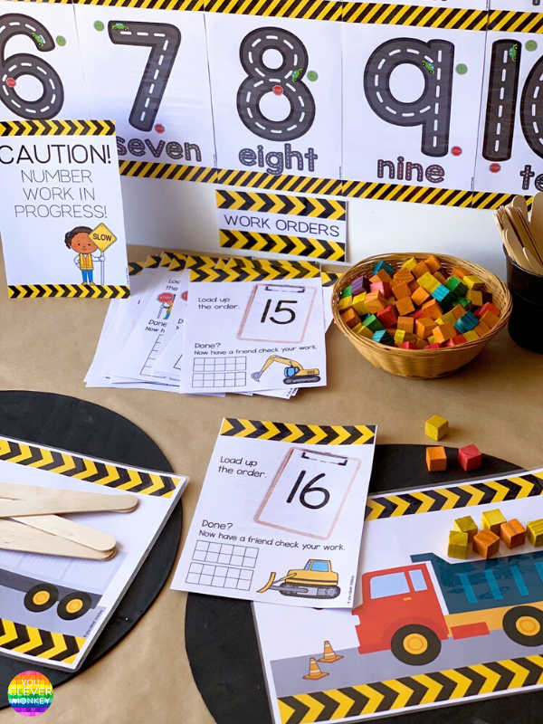 Construction Themed Number Pack - These construction themed number play mats are perfect for building number sense from preschool to first grade! With three different types of truck themed number mats included, just choose the one you want to add to your math centers, morning work or math tubs. Just print and add different materials to invite play - rocks, blocks, LEGO, playdough... so many ways to use this pack to build rich math play in the Early Years | you clever monkey