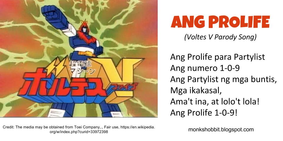 Monks Hobbit Ang Prolife 109 A Parody Song Of Voltes V Filipino