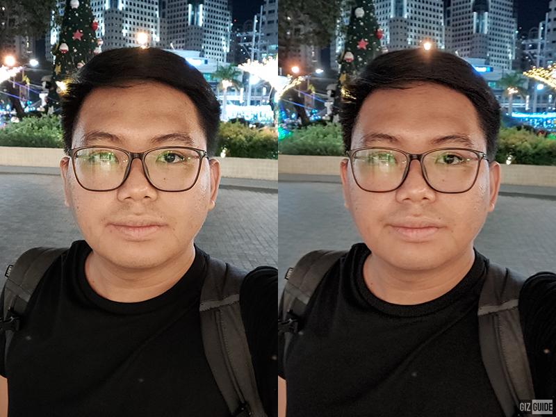 Normal low light selfie vs selfie Nightscape mode