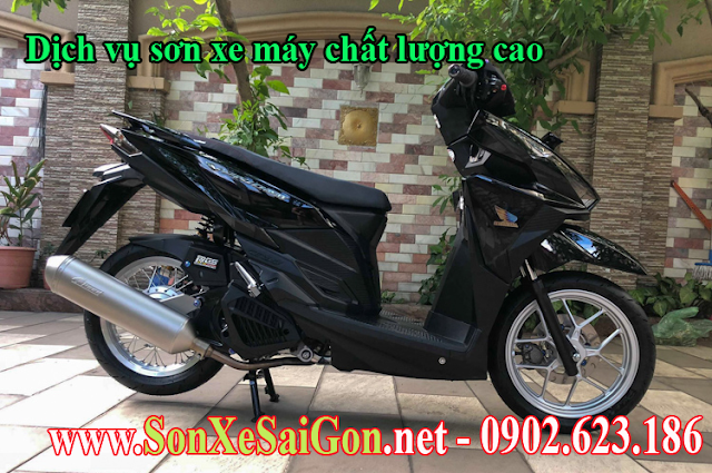 Sơn xe máy Vario 150 màu đen bóng cực đẹp