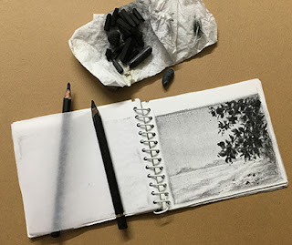 "A Charcoal drawing sized 4""X 5"" in my charcoal drawing sketch book"
