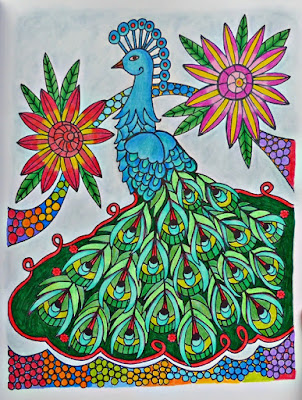 Completed peacock coloring page