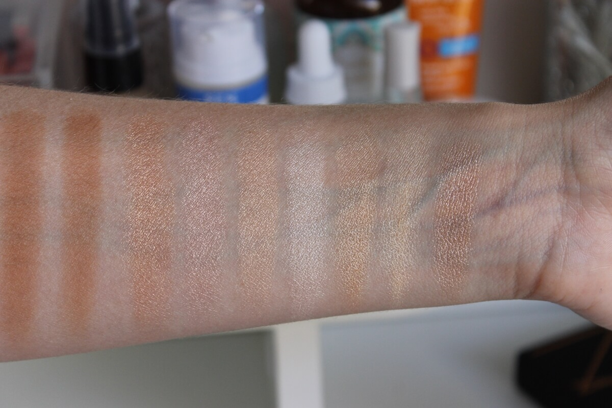 nars bord de plage vs thebalm mary loumanizer becca moonstone mac soft & gentle swatches