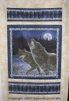 unfinished wolf quilt panel