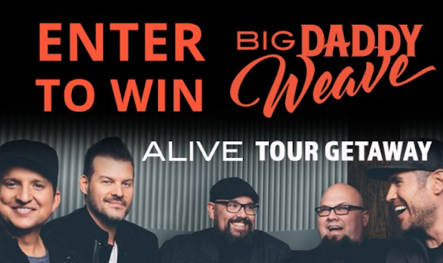 You can enter every day for your chance to win a flyaway vacation to Westminster, Colorado to see Big Daddy Weave, live in concert on their Alive Tour!