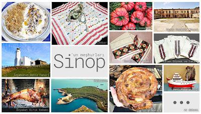 Sinop'un meşhur şeylerini gösteren resimlerden oluşan kolaj