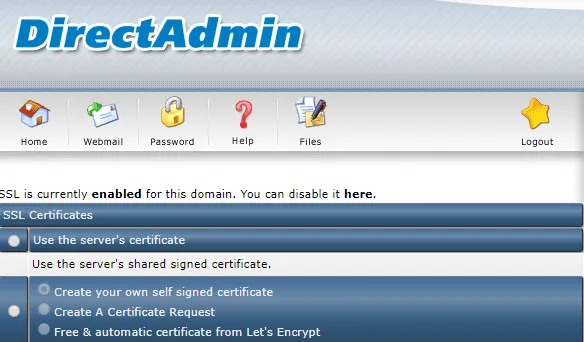 DirectAdmin SSL Enabled