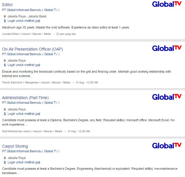 5 Lowongan Kerja Global TV ( PT Global Informasi Bermutu ) Terbaru 2019