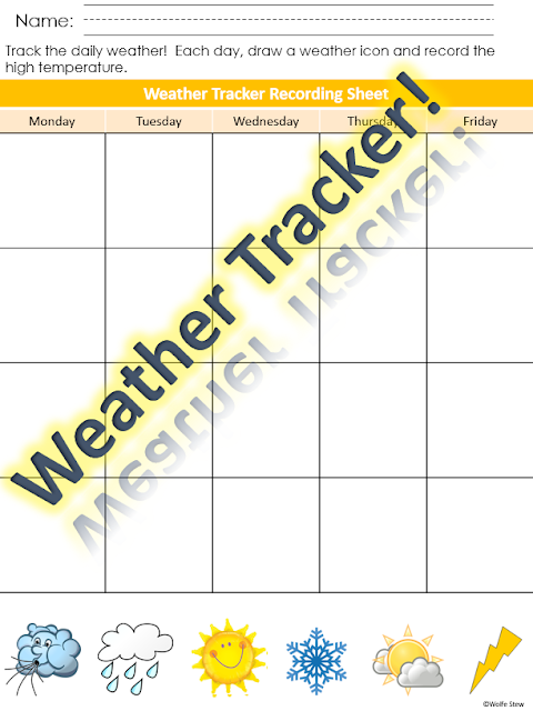Perfect for your preschool, kindergarten, and first grade weather recording needs.