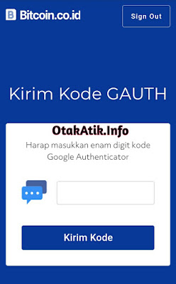 kolom pengisian kode google authenticator