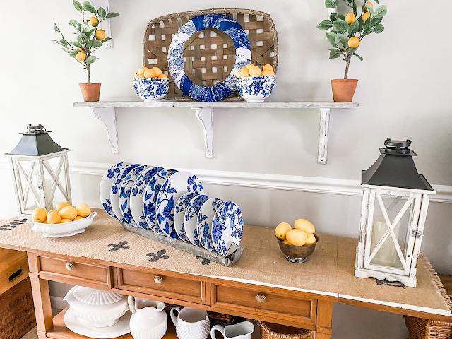 blue white dishes farmhouse shelves lemons farmhouse decor