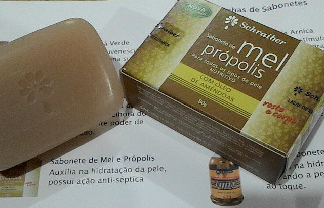Saúde, Laboratório Schraiber, Sabonete, Sabonete em barra, mel, amendoa, propolis,