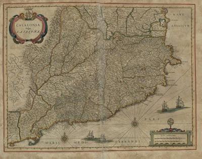 Dicen por ahí que Cataluña fue conquistada por España en 1714. Pero en este mapa de 1672 consta que ya formaba parte de ella
