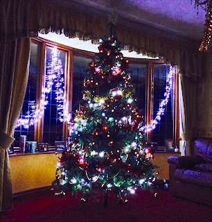 Morgan's Milieu | Merry Christmas: A christmas tree lit up with white lights