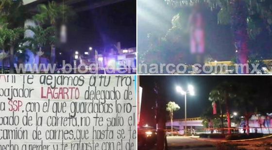 Cuelgan a hombre de puente en Coatzacoalcos y dejan Narcomensaje para el comandante Sierra de la SSP, lo acusan de ratero