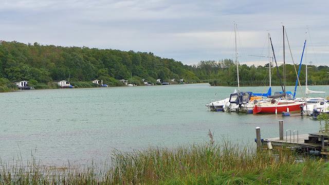 Blick auf den Hainer See mit Ferienhäuschen am anderen Ufer und Steg