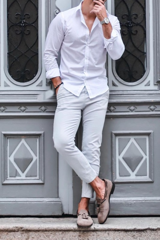 Men's tone on tone outfit combination ideas.
