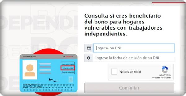 Consulta Bono Independiente por la Pandemia