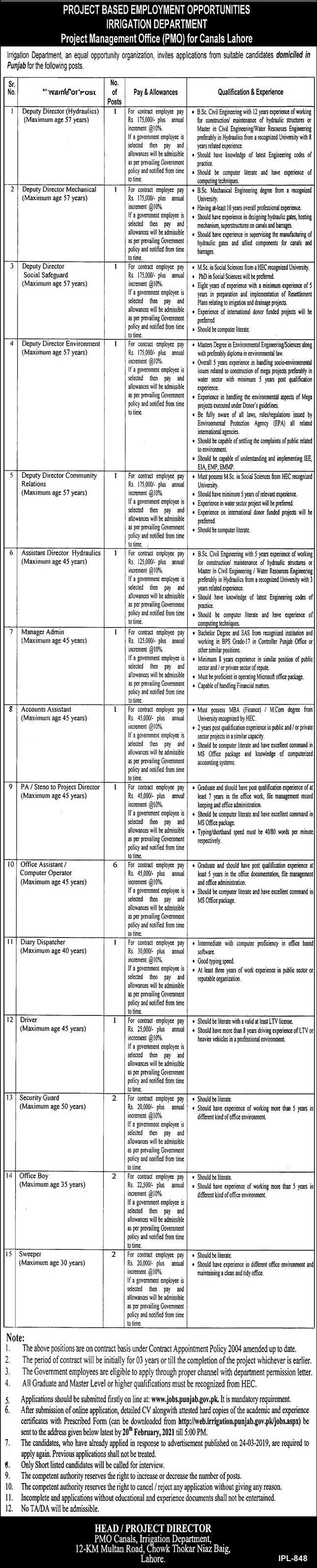 Punjab Irrigation Department Jobs 2021 - Irrigation Department Jobs 2021
