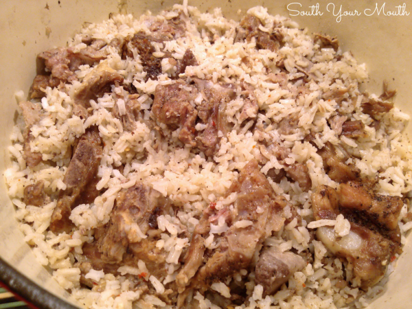 Neck Bones & Rice - A rustic Southern recipe of rice cooked in the savory stock from slowly simmered  pork neck bones.