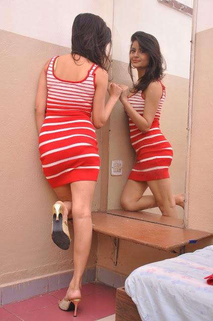 Gehana Vasisth Hot Photoshoot in Red Dress Navel Queens