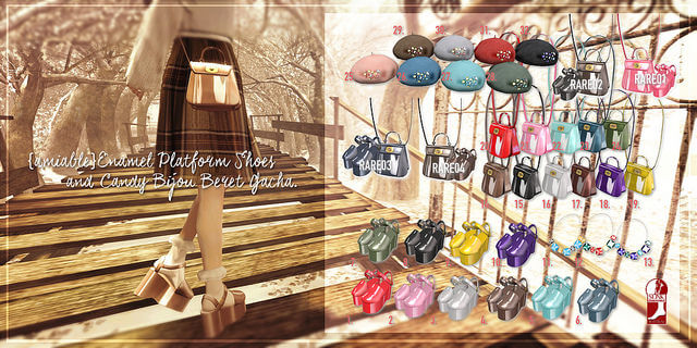 {amiable}Enamel Platform Shoes & Candy Bijou Beret Gacha