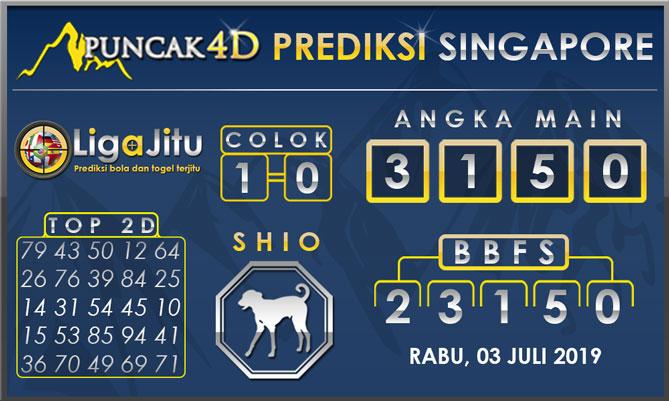 PREDIKSI TOGEL SINGAPORE PUNCAK4D 03 JULI 2019