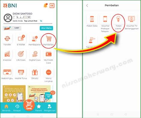 Cara beli token listrik lewat mobile banking bni