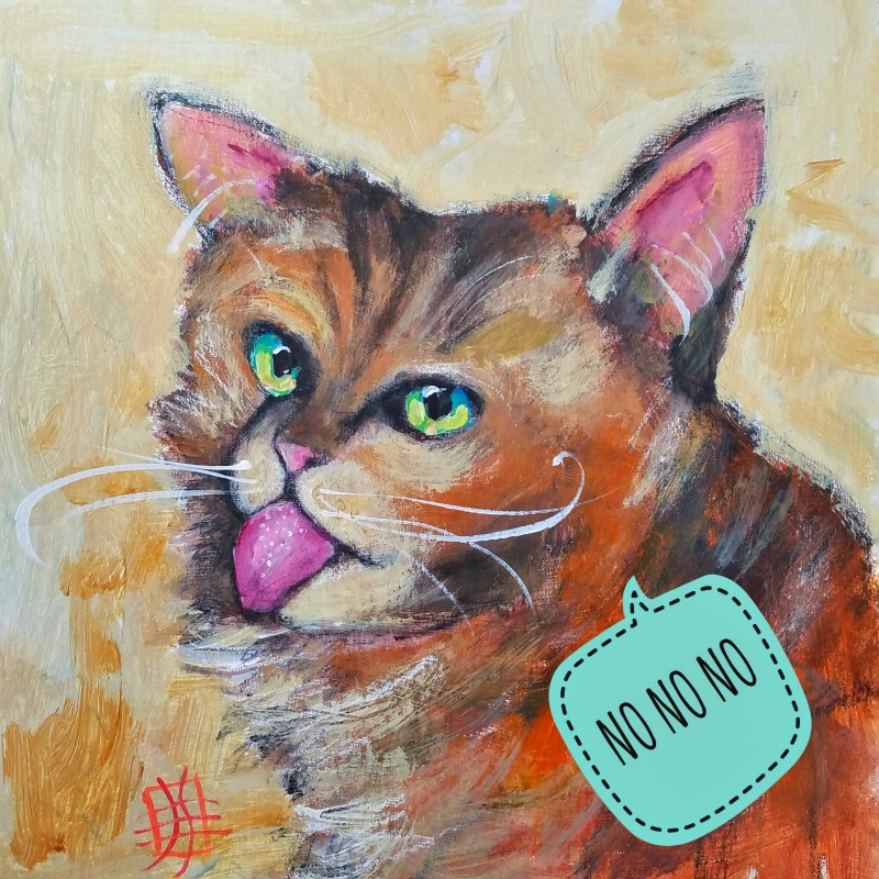 CAT #21 by Joanie Springer, #30cats, no no no inauguration day 2017