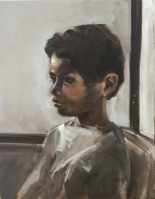 Child at the window, child portrait from life, oil on canvas by Philine van der Vegte