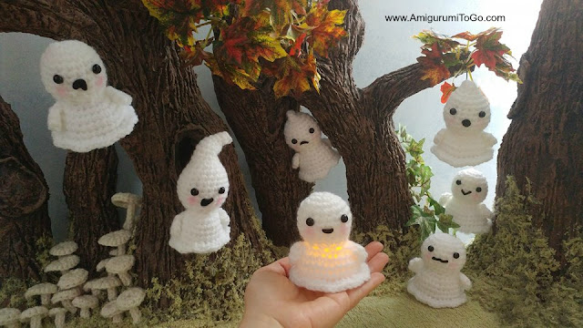crochet ghosts all around clay  trees