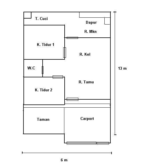 gambar denah rumah simple 3