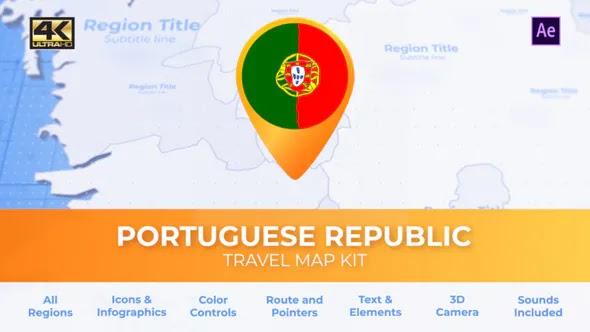 Videohive Portugal Map – Portuguese Republic Travel Map 28341634