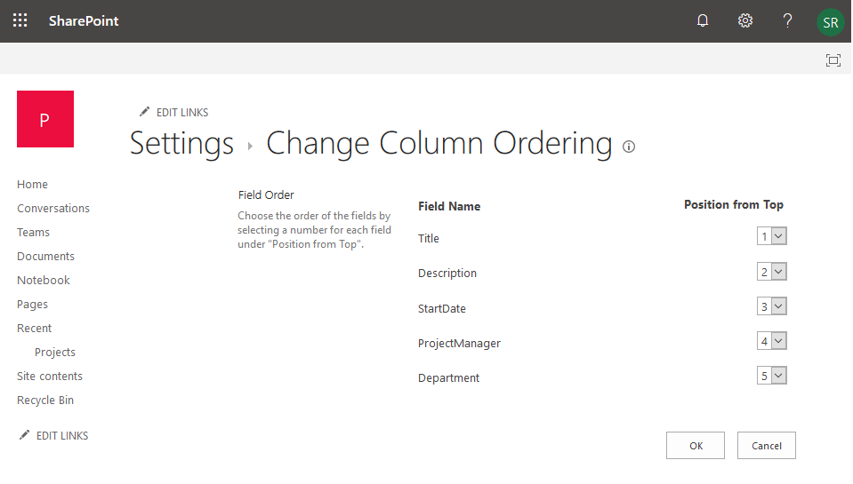 change column order sharepoint online