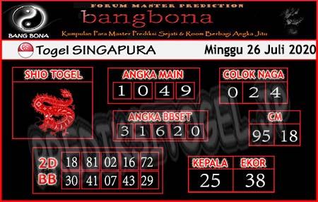 Prediksi Togel Bangbona Singapura Minggu 26 Juli 2020