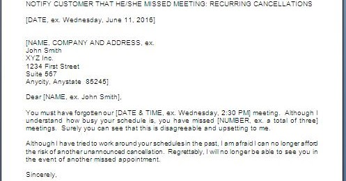 Warning Letter For Missed Appointments
