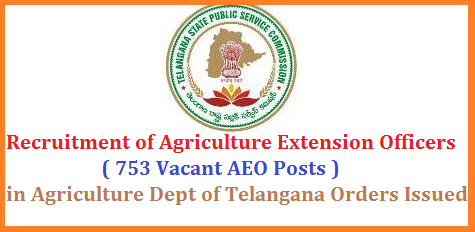 Recruitment of 753 Vacant Agricultural Extension Officer Posts in Agriculture Dept of Telangana by TSPSC Notification Eligibility Syllabus Public Services – AGRICULTURE & COOPERATION DEPARTMENTRecruitment – Filling up of Seven hundred and fifty three (753) vacant posts of Agriculture Extension Officer Grade-II through Direct Recruitment – Permission to the Telangana State Public Service Commission – Orders –Issued. Agriculture-extension-officer-753-vacant-posts-recruitment-tspsc-telangana-dept-eligibility-syllabus