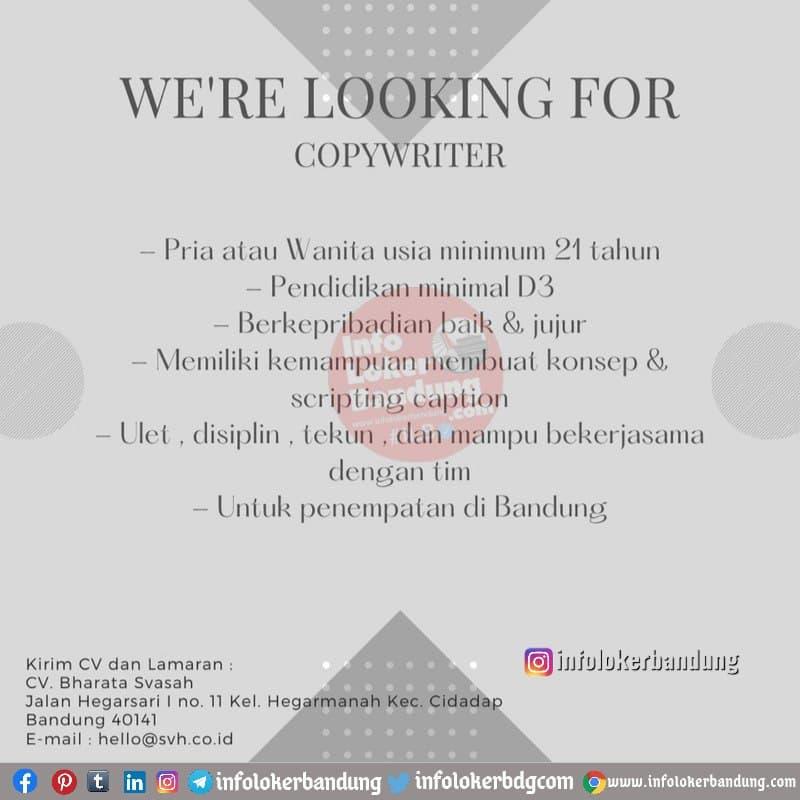 Lowongan Kerja Copy Writer CV. Bharata Svasah Bandung Januari 2021
