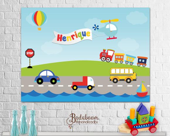 arte digital, meios de transporte, painel, festa infantil, painel digital, arte personalizada, arte para imprimir, painel meios de transporte, festa meios de transporte