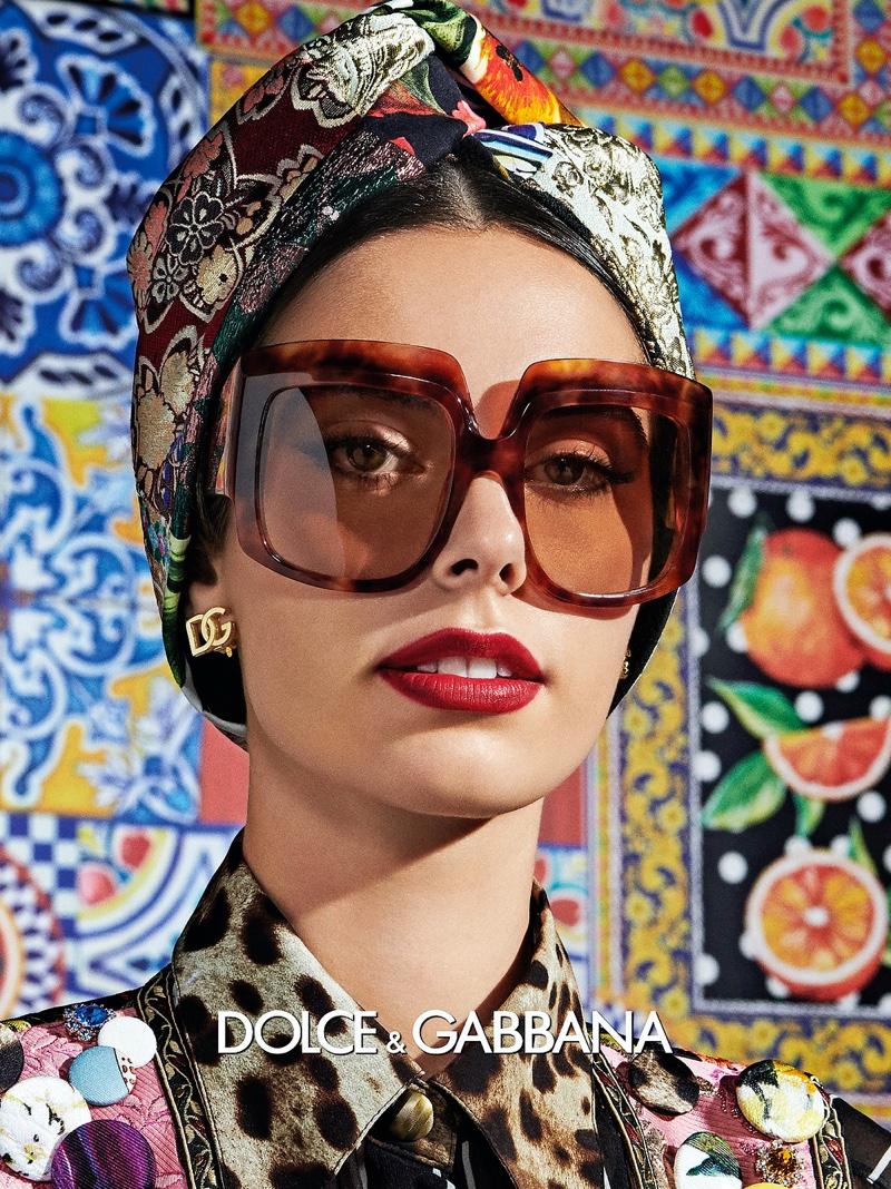 Claudia Gomez stars in Dolce & Gabbana Eyewear spring-summer 2021 campaign.