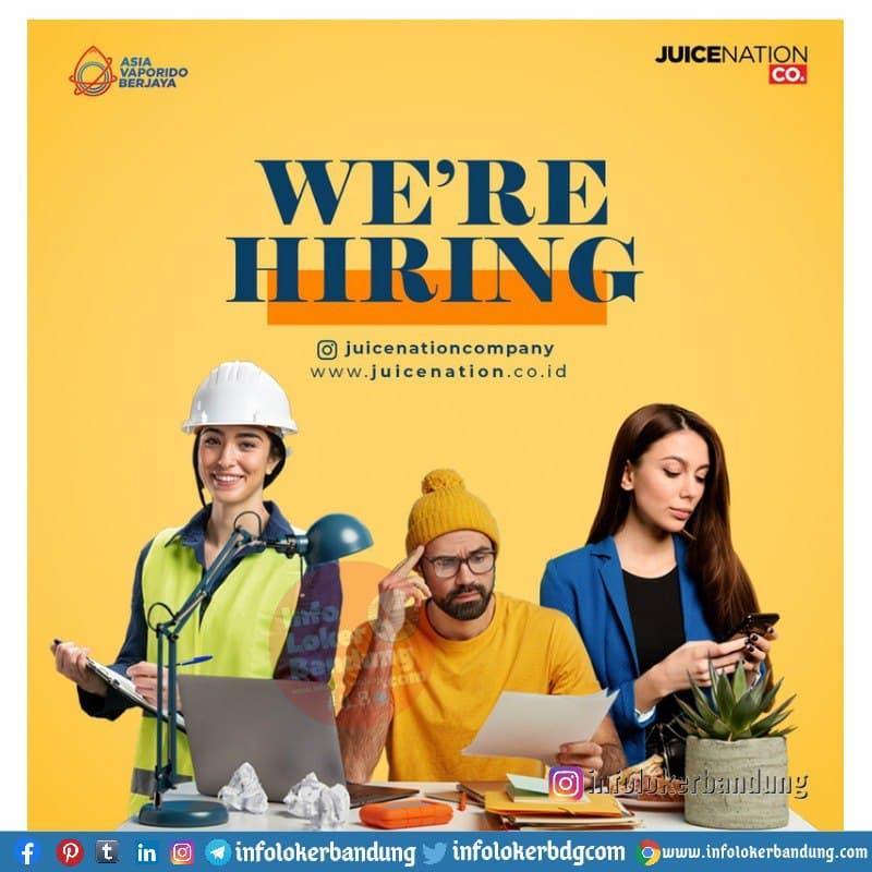 Lowongan Kerja PT. Asia Vaporido Berjaya (Juicenation Company) Bandung April 2021