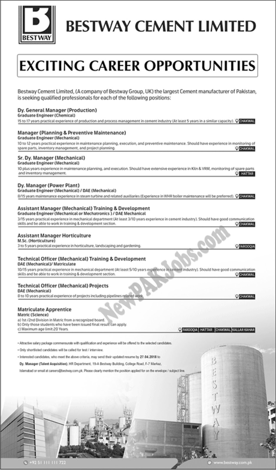 bestway-cement-limited-announec-vacancies-for-chakwal
