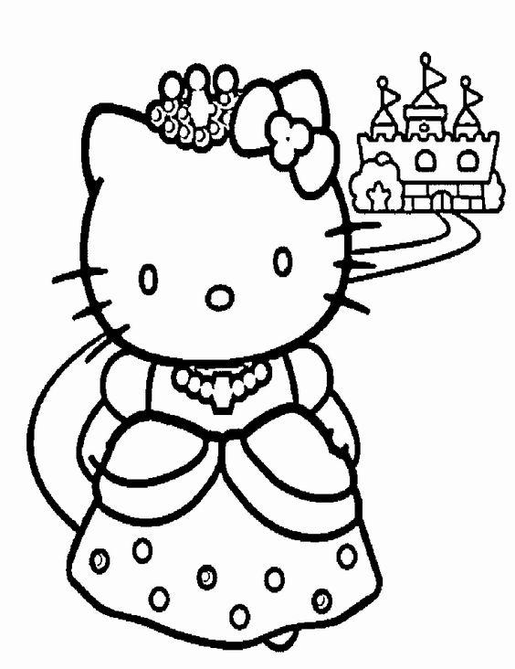 Tranh tô màu mèo hello kitty mặc váy công chúa