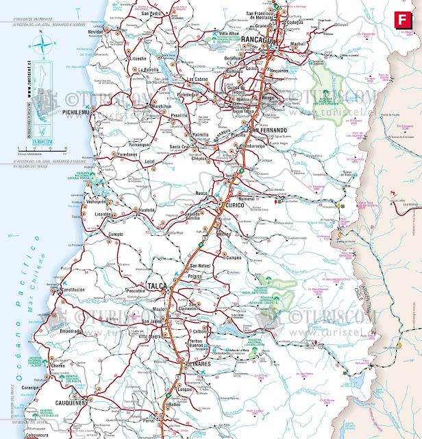 Mapa do Chile – Região 6 - Libertador Bernardo Ohiggins