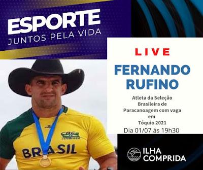 Atleta Fernando Rufino  Cowboy, do Polo Nacional de Paracanagoagem da Ilha em live na quarta 01/07