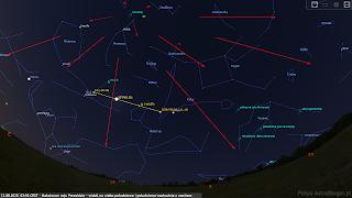 Radiant Perseidów i możliwe ich tory przy skierowaniu obserwatora ku południowo-zachodniej i zachodniej stronie nieba (13.08.2019, godz. 03:55 CEST). Dodatkowo zaznaczona droga Księżyca i położenie, w jakim się znajdzie w trzy główne noce aktywności Perseidów. Warto to mieć na uwadze planując miejsce obserwacji i tak skierować wzrok, by nie pogarszać sobie adaptacji wzroku do ciemności Księżycem w polu widzenia.