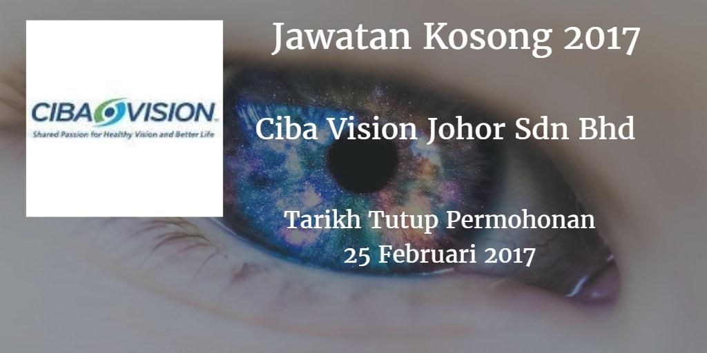 Jawatan Kosong Ciba Vision Johor Sdn Bhd 25 Februari 2017