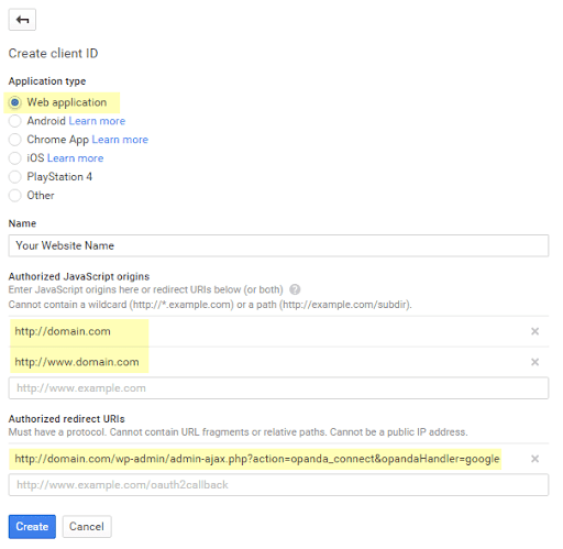 Getting Google Client ID